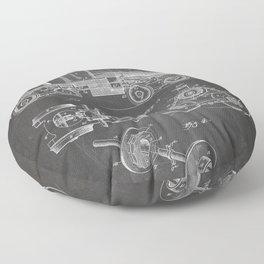 Train Locomotive Patent - Steam Train Art - Black Chalkboard Floor Pillow