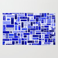 doors Area & Throw Rugs featuring Doors - Blues by Finlay McNevin