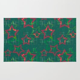 Stars on green background Rug