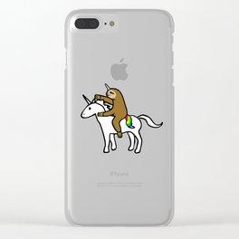 Slothicorn Riding Unicorn Clear iPhone Case