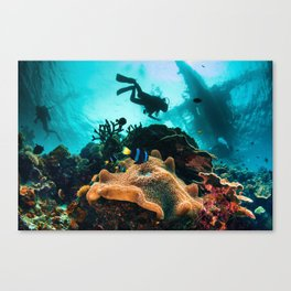 Colourful seascape with diver silhouette Canvas Print