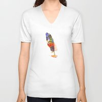 feather V-neck T-shirts featuring feather by emegi