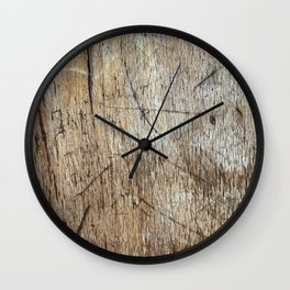Scratched Wood Wall Clock