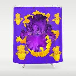 Decorative Modern Purple Iris Color Golden Pattern  Art #2 Shower Curtain