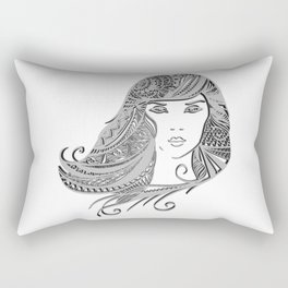 zentangle portrait 4 Rectangular Pillow