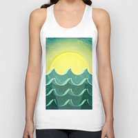 notebook Tank Tops featuring Sun and sea by Katherine Paulin