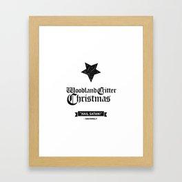 Woodland Critter Christmas Black Text Framed Art Print