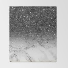 Stylish faux black glitter ombre white marble pattern Throw Blanket