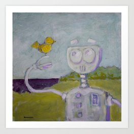 Robot Meets Bird Art Print