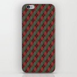 Red Green Plaid Gingham Christmas Holiday iPhone Skin