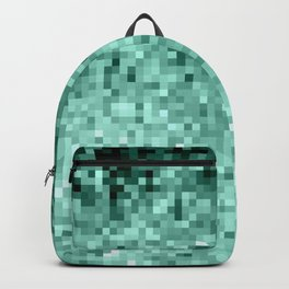 Teal Mint Green Pixels Backpack