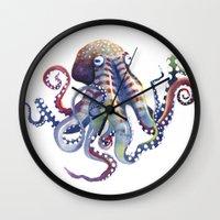 octopus Wall Clocks featuring Octopus by Sam Nagel