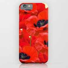 RED ORIENTAL POPPIES ON CREAM COLOR Slim Case iPhone 6s