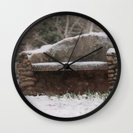 Snow Covered Bench Photography Wall Clock