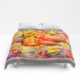 YELLOW & PINK WATER LILIES & SAFFRON FLAMINGOS  ABSTRACT Comforters