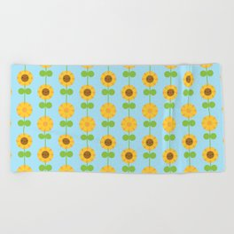 Kawaii Sunflowers Beach Towel