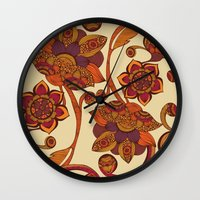 boho Wall Clocks featuring Boho Flowers by Valentina Harper