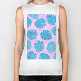Pink Blue Hand Painted Swiss Cheese Plant Leaves Biker Tank