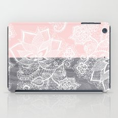 Elegant floral lace gray wood pastel pink block  iPad Case