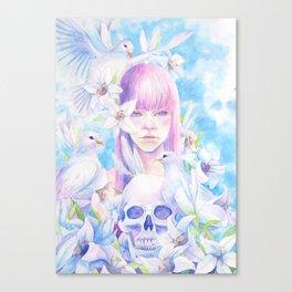 Angel or Devil - Dove, Lily, Skull Canvas Print