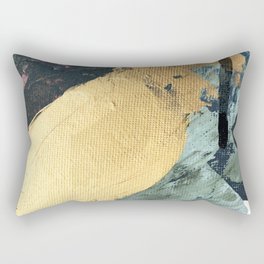 Supernova: an abstract mixed media piece in gold with blues, greens, and a hint of pink Rectangular Pillow