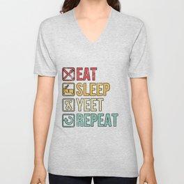 Eat Sleep Yeet Repeat Dank Meme Gift Dabbing Apparel Unisex V-Neck