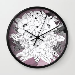 B&W Bouquet Wall Clock