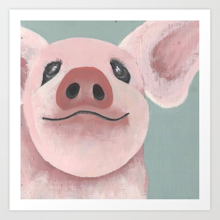 Original Painting - Farm Friends - Baby Pig - Cute Pig Painting Art Print