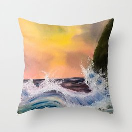 Dramatic Waves Throw Pillow