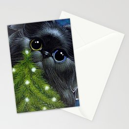 HOLIDAY BLACK PERSIAN ANGEL CAT ODD EYES - 1ST CHRISTMAS TREE Stationery Cards