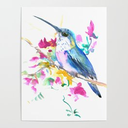 Turquoise Hummingbird and Purple Pink Flowers Poster
