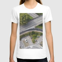 Aerial view of street street and ramps T-shirt