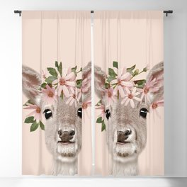 Baby Deer Print, Baby animal, Flower crown, Woodlands Decor, Wall Art, Animals Print, Woodlands Blackout Curtain