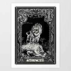 STRENGTH of Tarot Cat Art Print