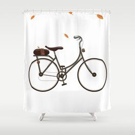 Cycling cartoon poster Shower Curtain