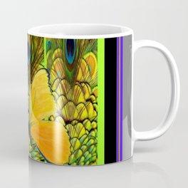 GREY-PURPLE ART NOUVEAU PEACOCK BUTTERFLY Coffee Mug