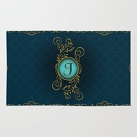 monogram Area & Throw Rugs featuring Monogram J by Britta Glodde