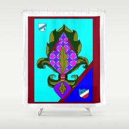 Fancy Royal Fleur de Lis and Shields and Ribbon Shower Curtain