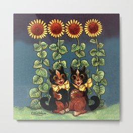 Cats & Sunflowers - Louis Wain Cats Metal Print
