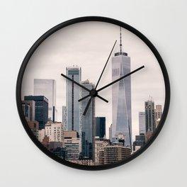 View of Manhattan Buildings Wall Clock