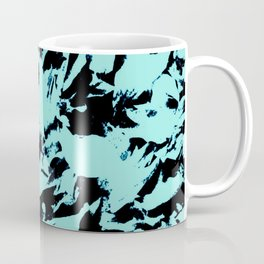 Turquoise Black Abstract Military Camouflage Coffee Mug
