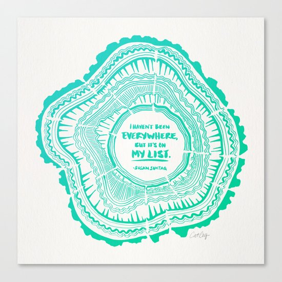 My List – Turquoise Ombré Canvas Print
