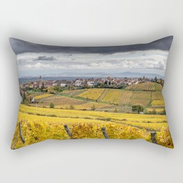 France Riquewihr Vineyard Autumn Nature Fields Houses Cities Building Rectangular Pillow