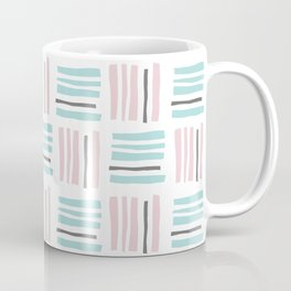 Stripes×Checkered Pattern_Mint Green&Pink&Gray Coffee Mug