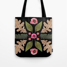 ROSE & LEAVES COLLAGE BLACK BACKGROUND Tote Bag