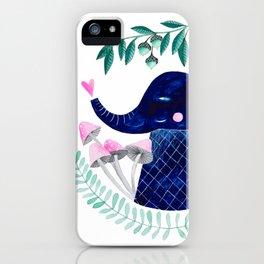 blue elephant watercolor illustration iPhone Case