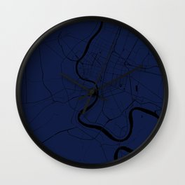 Bangkok Thailand Minimal Street Map - Navy Blue and Black Wall Clock