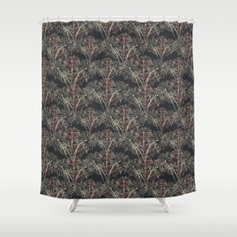 Fireworks Bloom Pink on Charcoal Shower Curtain