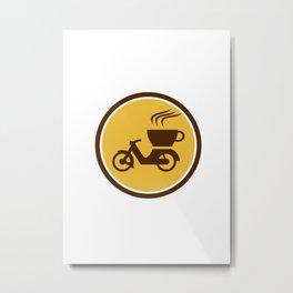 Coffee Delivery Motorcycle Circle Retro Metal Print