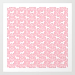 Cairn Terrier silhouette florals pink and white minimal dog breed basic dog pattern Art Print